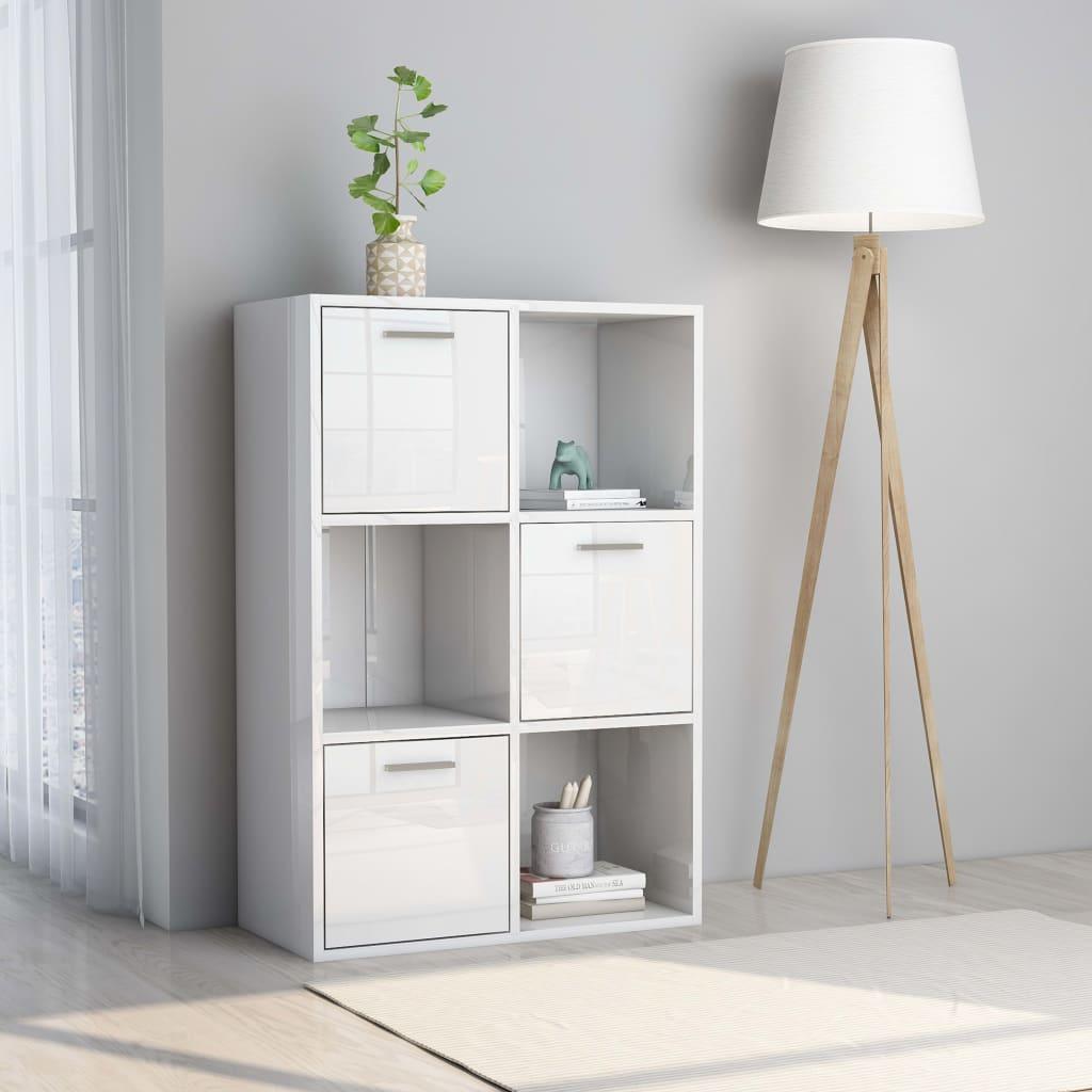 vidaXL Úložná skrinka lesklá biela 60x29,5x90 cm drevotrieska
