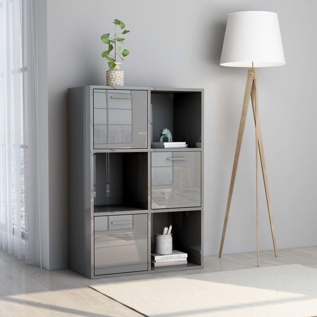 vidaXL Úložná skrinka lesklá sivá 60x29,5x90 cm drevotrieska