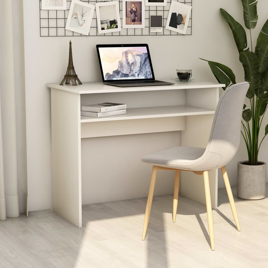 vidaXL Písací stôl, biely 90x50x74 cm, drevotrieska