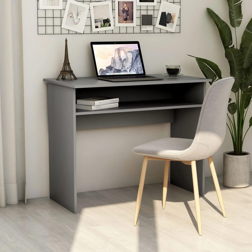vidaXL Písací stôl, sivý 90x50x74 cm, drevotrieska