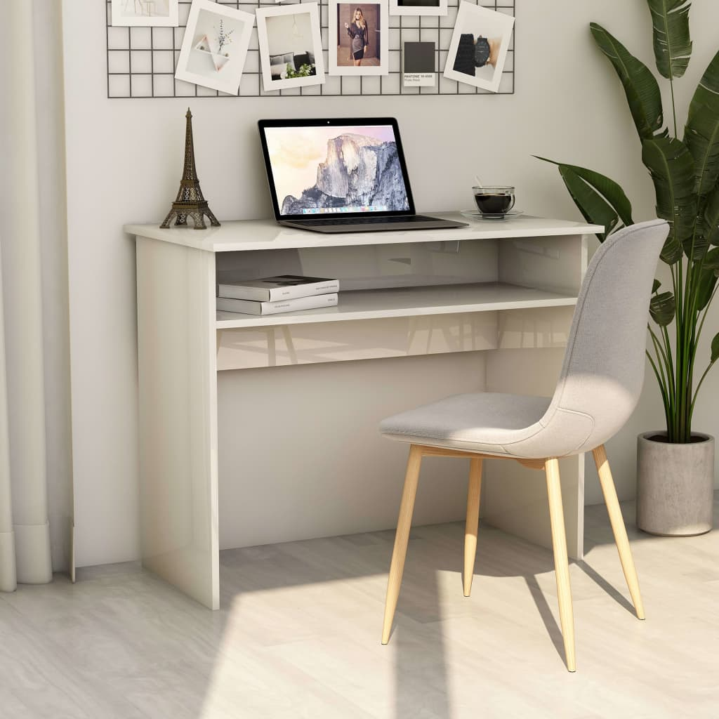 vidaXL Písací stôl, lesklý biely 90x50x74 cm, drevotrieska
