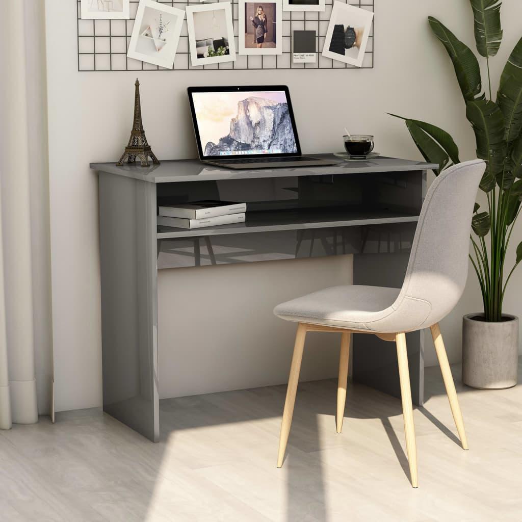 vidaXL Písací stôl, lesklý sivý 90x50x74 cm, drevotrieska