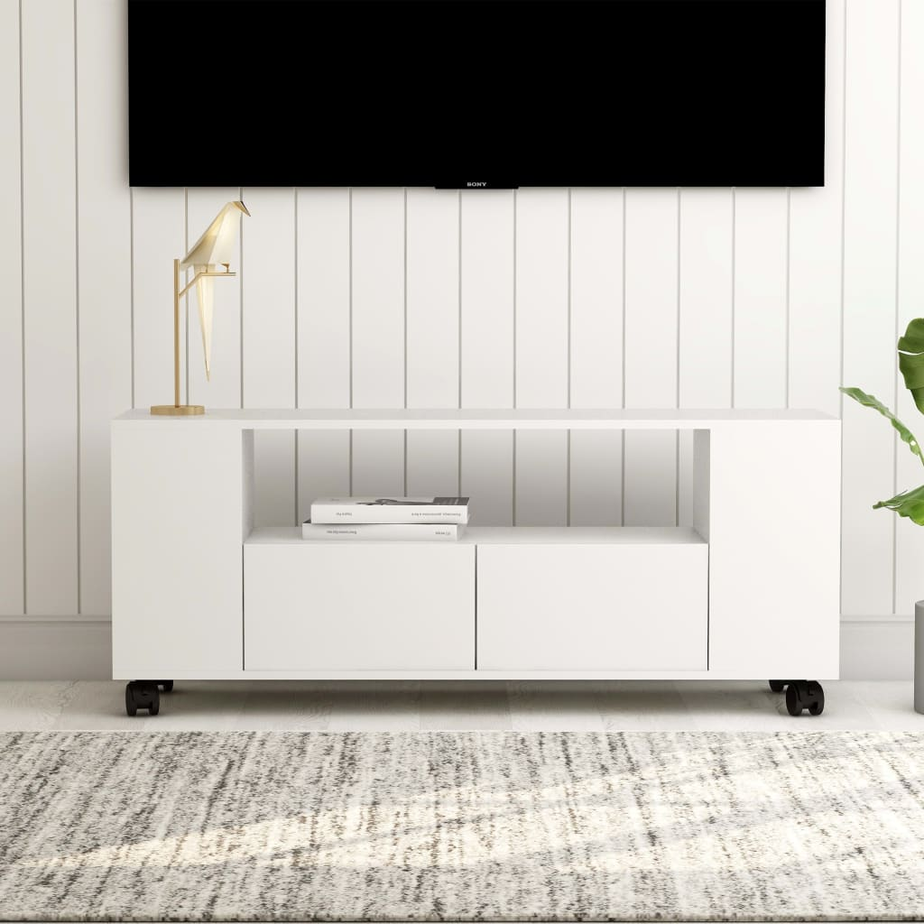 vidaXL TV skrinka biela 120x35x43 cm drevotrieska