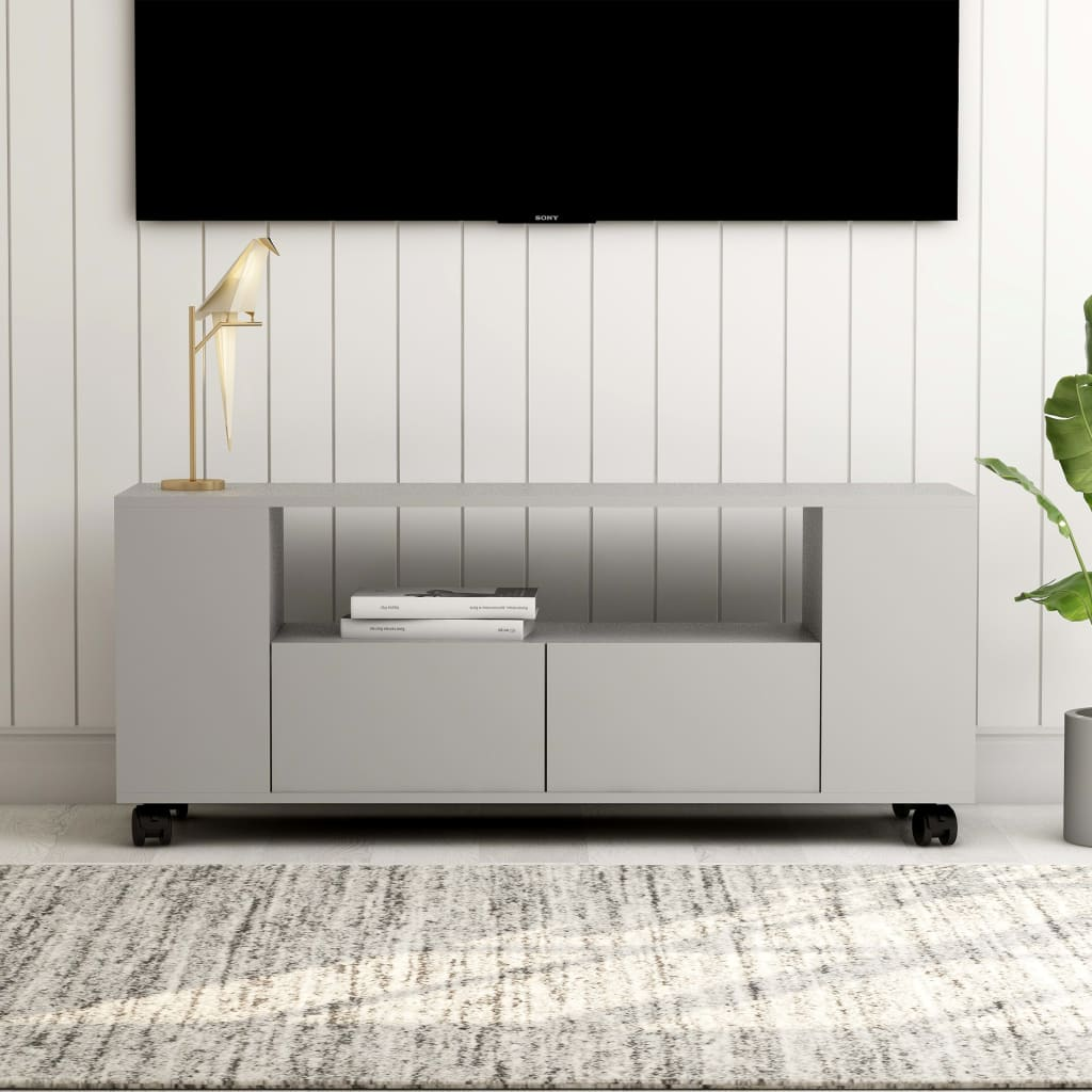 vidaXL TV skrinka sivý 120x35x43 cm drevotrieska