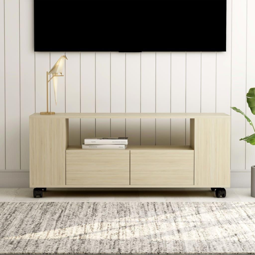 vidaXL TV skrinka farba dubu sonoma 120x35x43 cm drevotrieska