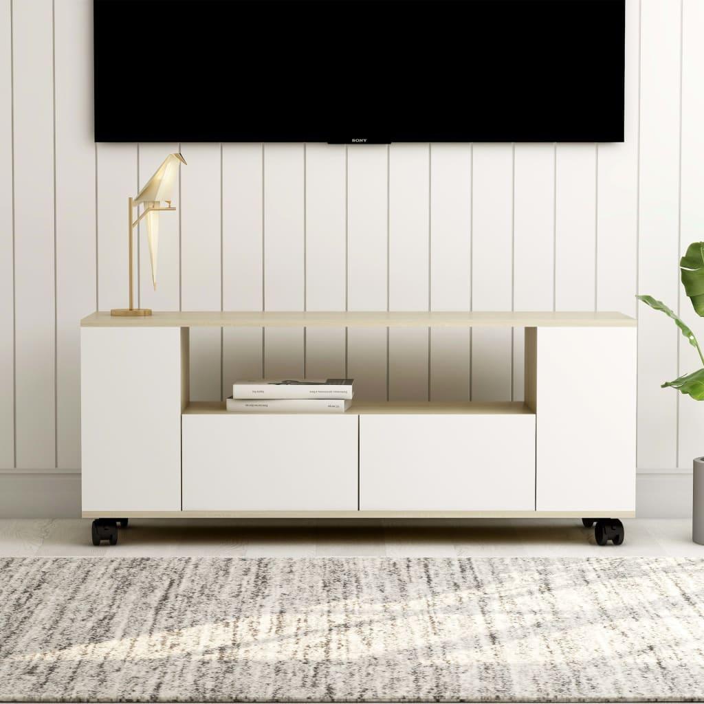 vidaXL TV skrinka biely a farba dubu sonoma 120x35x43 cm drevotrieska