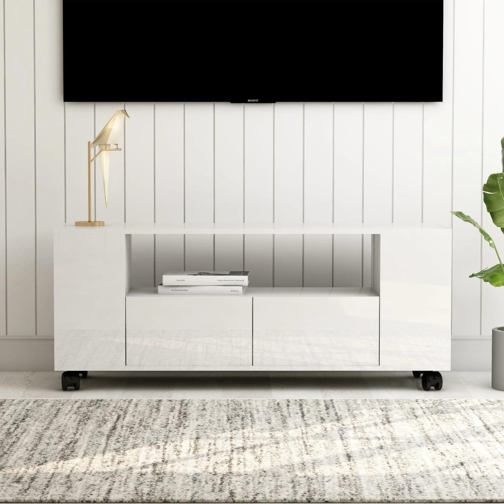 vidaXL TV skrinka lesklá biela 120x35x43 cm drevotrieska