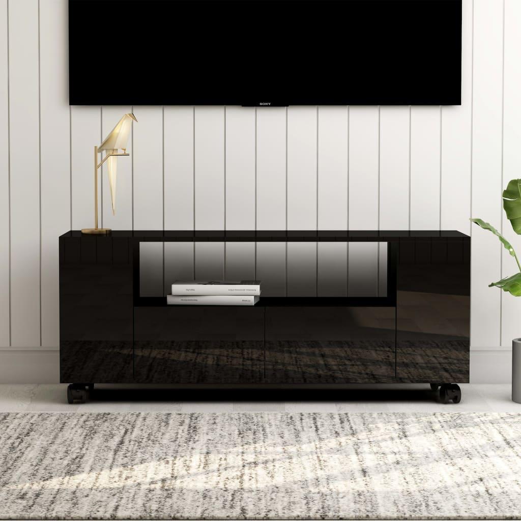 vidaXL TV skrinka lesklá čierna 120x35x43 cm drevotrieska
