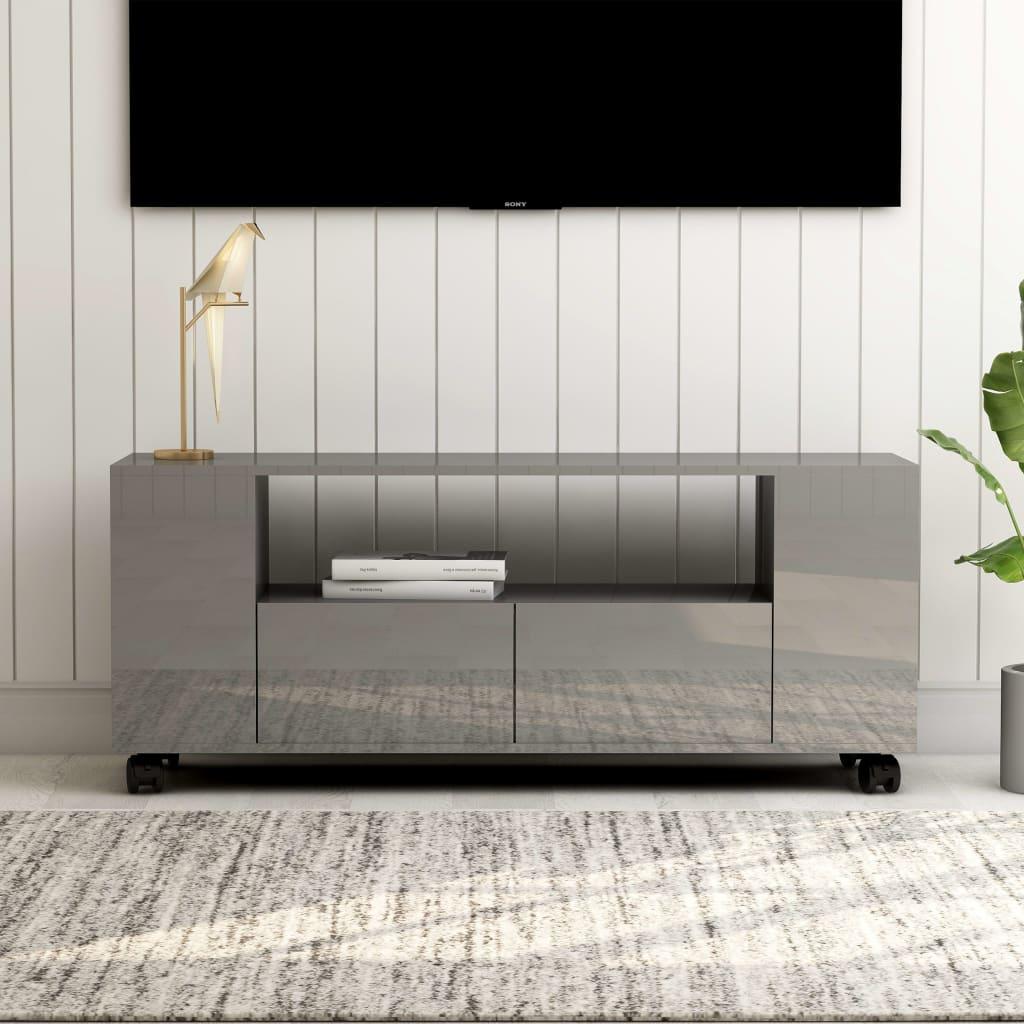 vidaXL TV skrinka lesklá sivá 120x35x43 cm drevotrieska