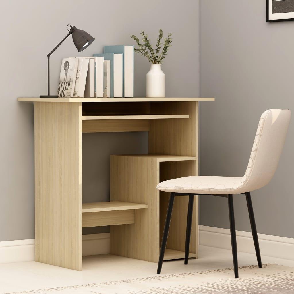 vidaXL Písací stôl, dub sonoma 80x45x74 cm, drevotrieska