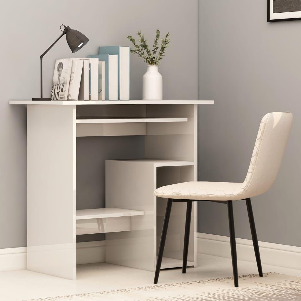 vidaXL Písací stôl, lesklý biely 80x45x74 cm, drevotrieska