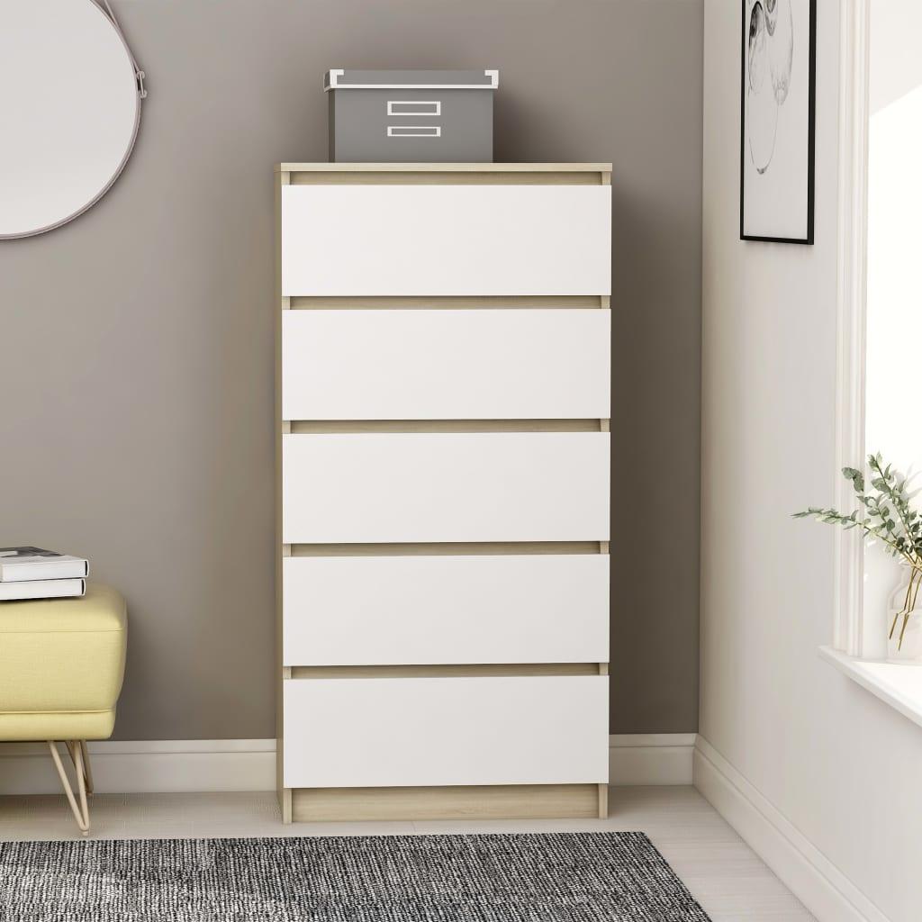 vidaXL Komoda so zásuvkami, biela a sonoma 60x35x121 cm, drevotrieska