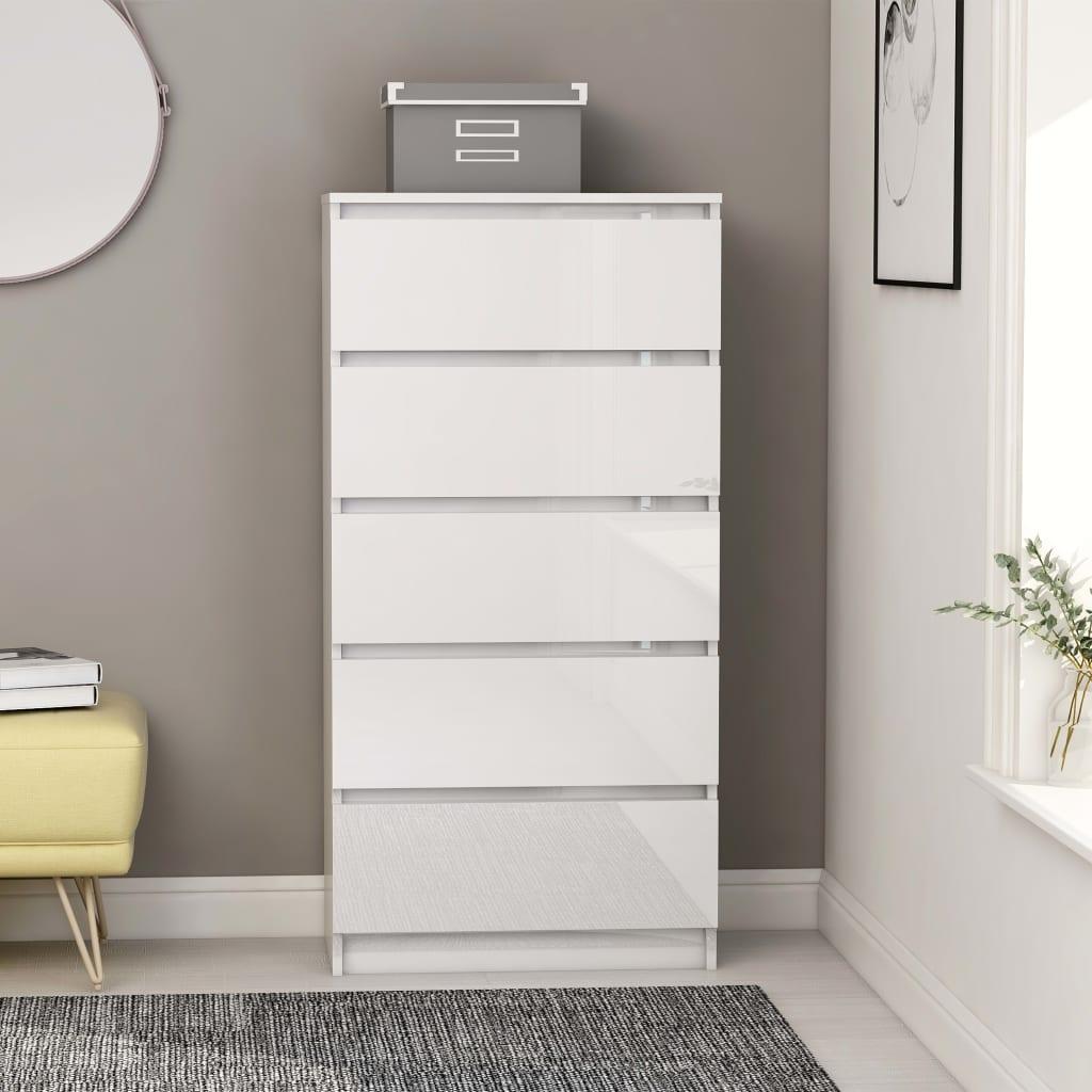 vidaXL Komoda so zásuvkami, lesklá biela 60x35x121 cm, drevotrieska