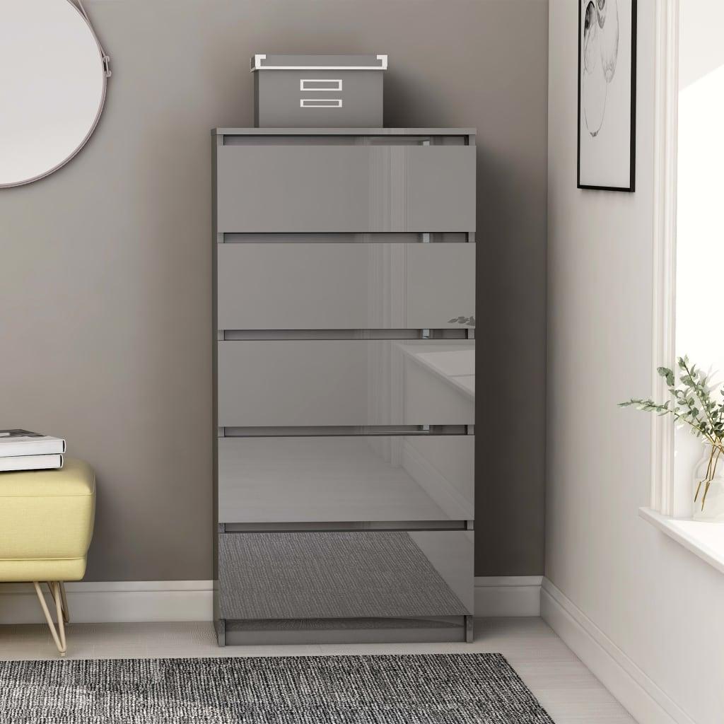 vidaXL Komoda so zásuvkami, lesklá sivá 60x35x121 cm, drevotrieska