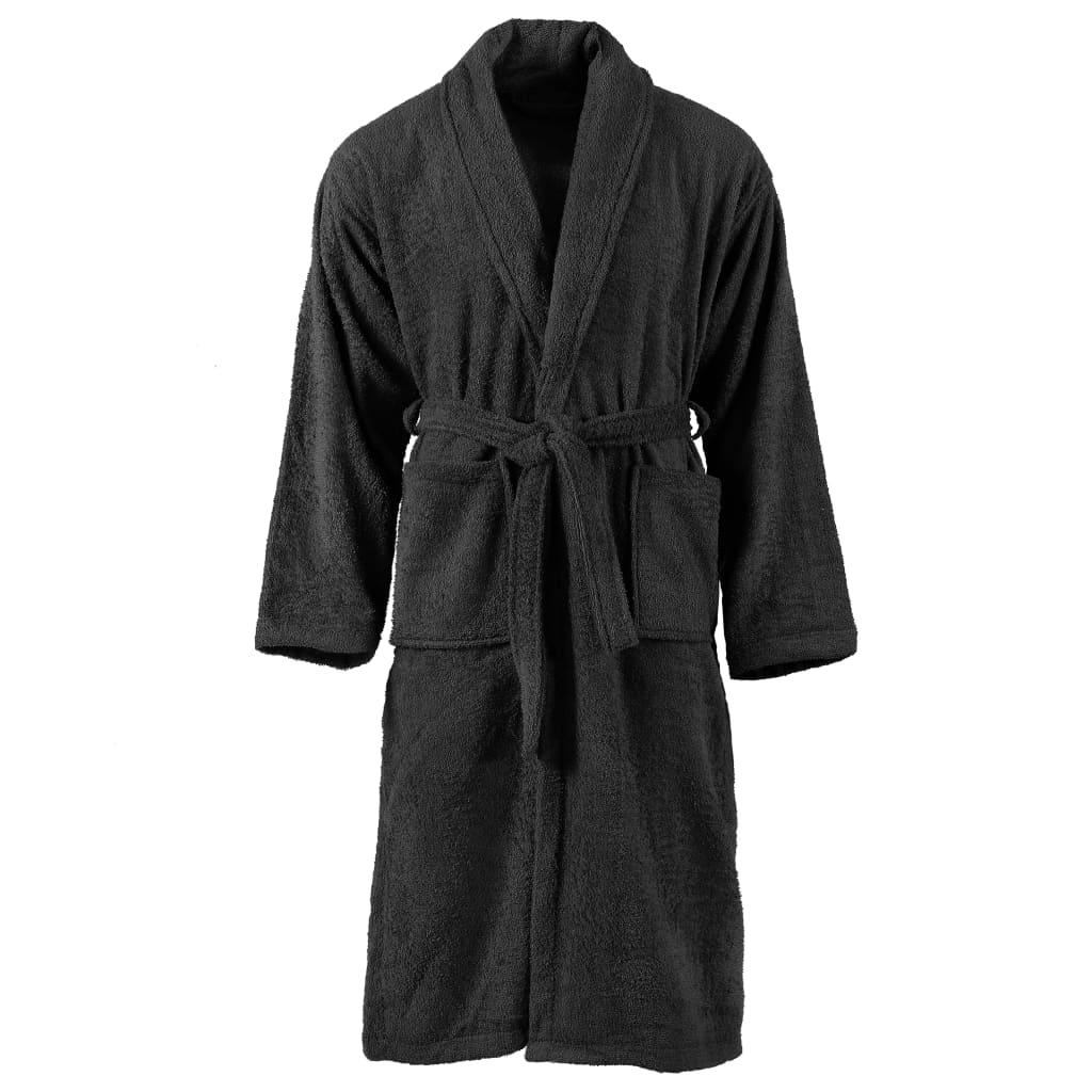 vidaXL Unisex froté župan čierny 100 % bavlna XL