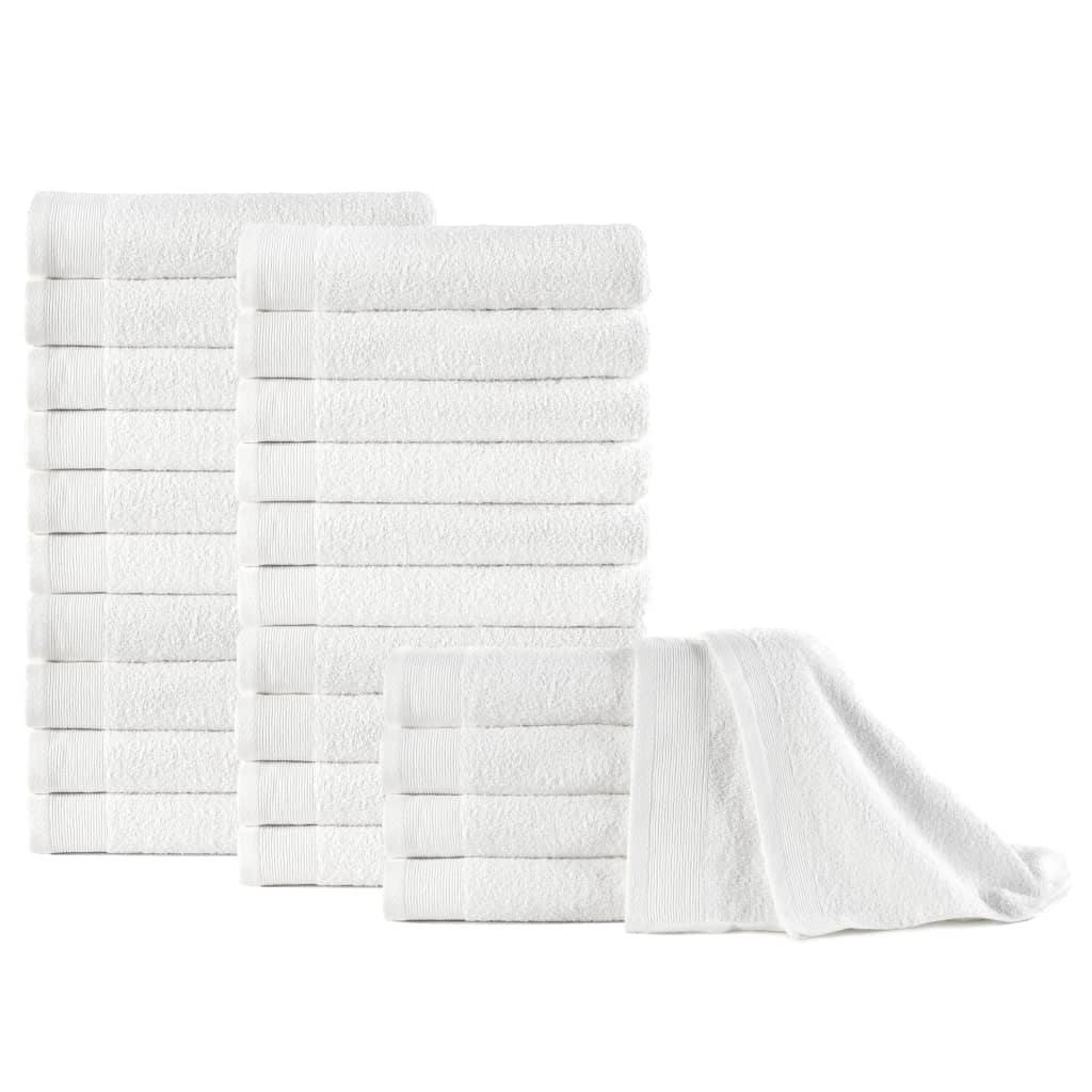 vidaXL Uteráky na ruky 25 ks, bavlna 350 g/m², 50x100 cm, biele