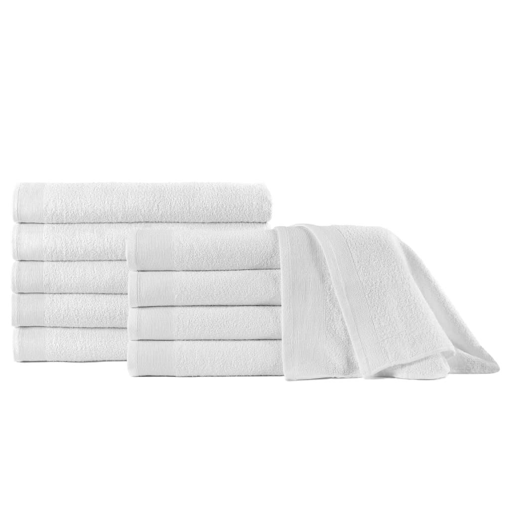 vidaXL Uteráky do sauny 10 ks, bavlna 350 g/m², 80x200 cm, biele