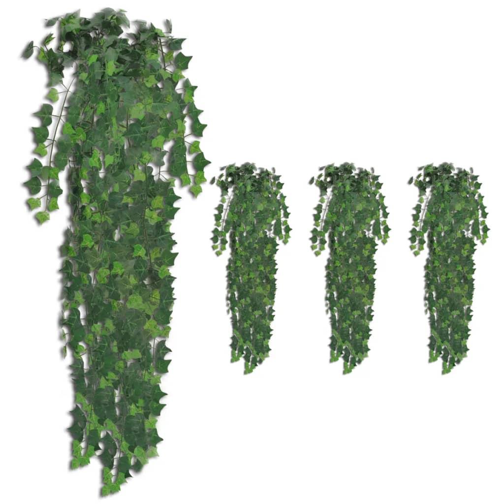vidaXL Umelý brečtan 4 ks zelený 90 cm