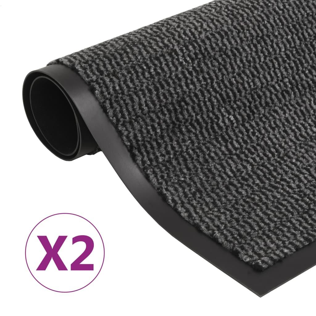 vidaXL Rohožky pred dvere 2 ks antracitové 80x120 cm obdĺžnikové všívané