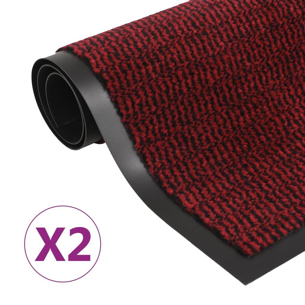 vidaXL Rohožky pred dvere 2 ks červené 90x150 cm obdĺžnikové všívané