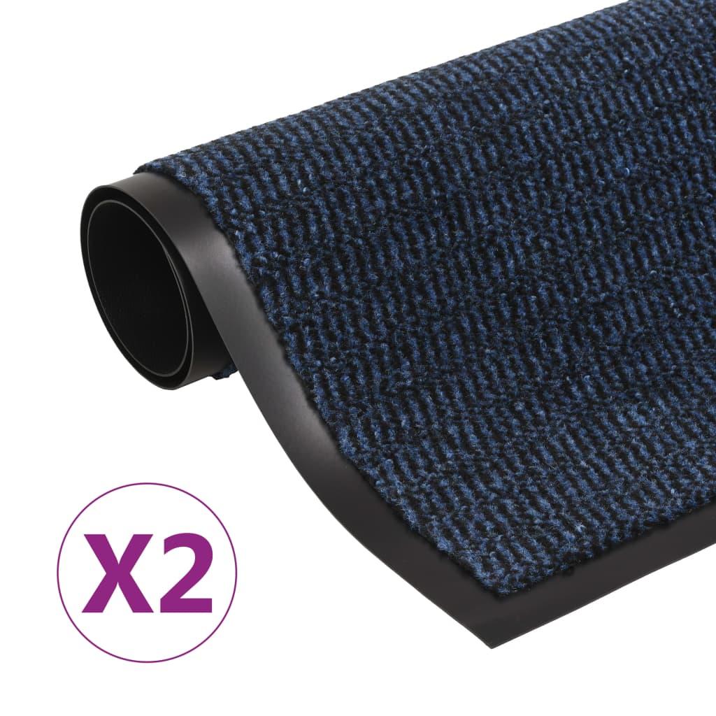 vidaXL Rohožky pred dvere 2 ks modré 90x150 cm obdĺžnikové všívané