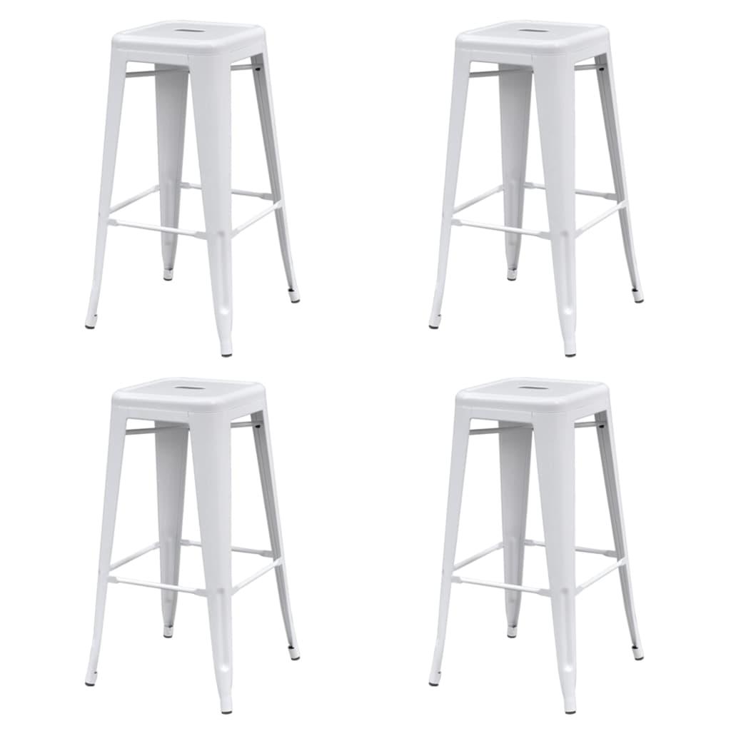 vidaXL Barové stoličky 4 ks, biele, oceľ