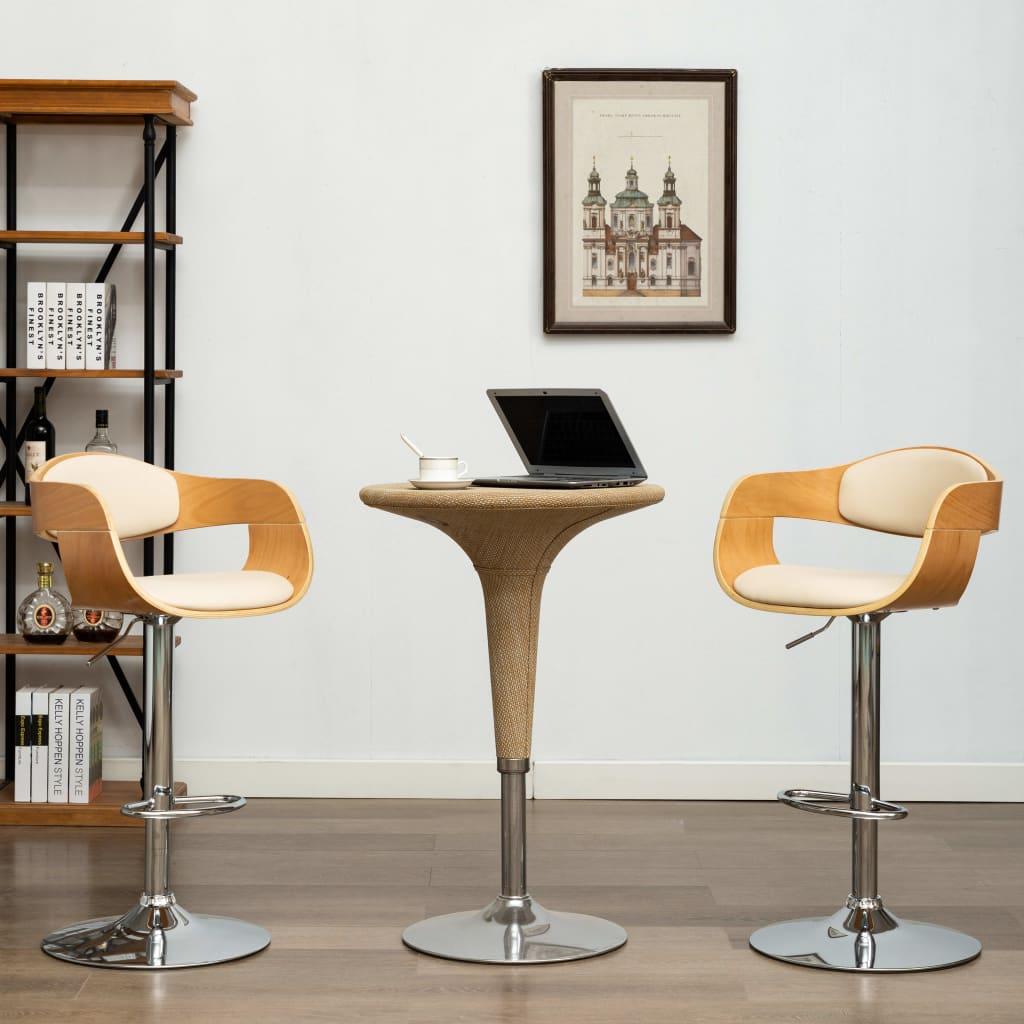 vidaXL Barové stoličky 2 ks krémové ohýbané drevo a umelá koža
