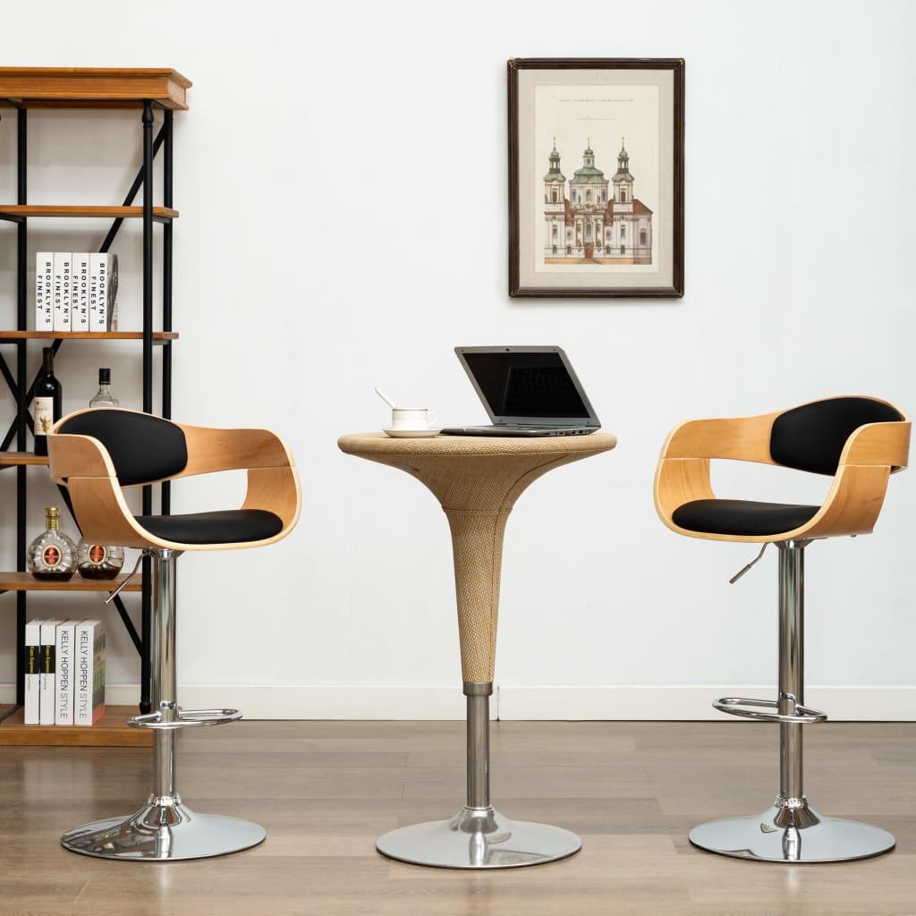 vidaXL Barové stoličky 2 ks čierne ohýbané drevo a umelá koža