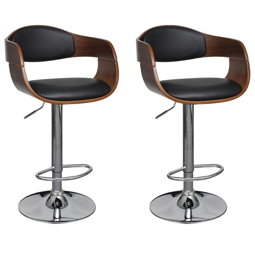 vidaXL Barové stoličky 2 ks, čierne, ohýbané drevo a umelá koža