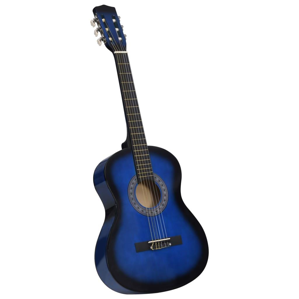 vidaXL Klasická gitara pre začiatočníkov a deti modrá 3/4 36