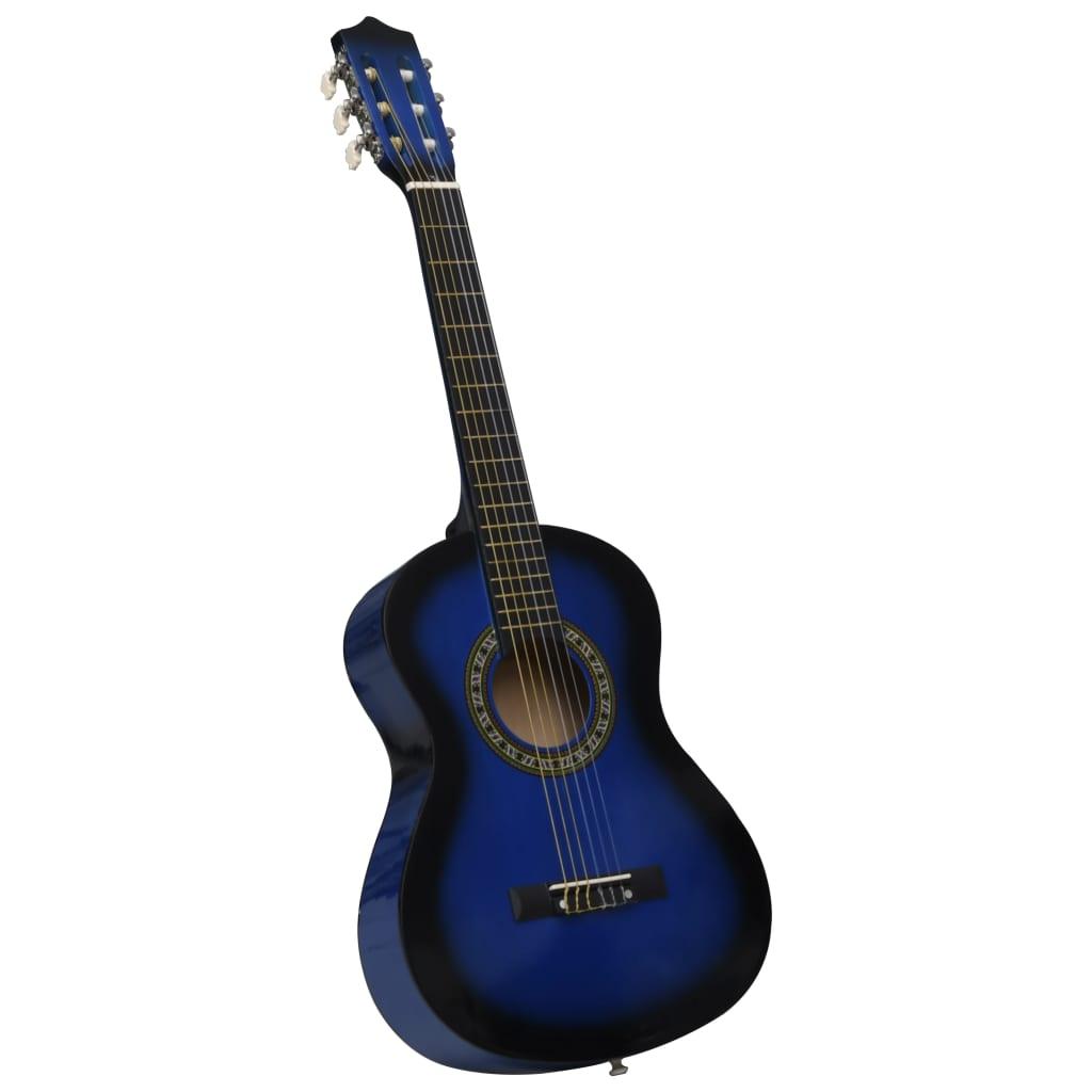 vidaXL Klasická gitara pre začiatočníkov a deti modrá 1/2 34