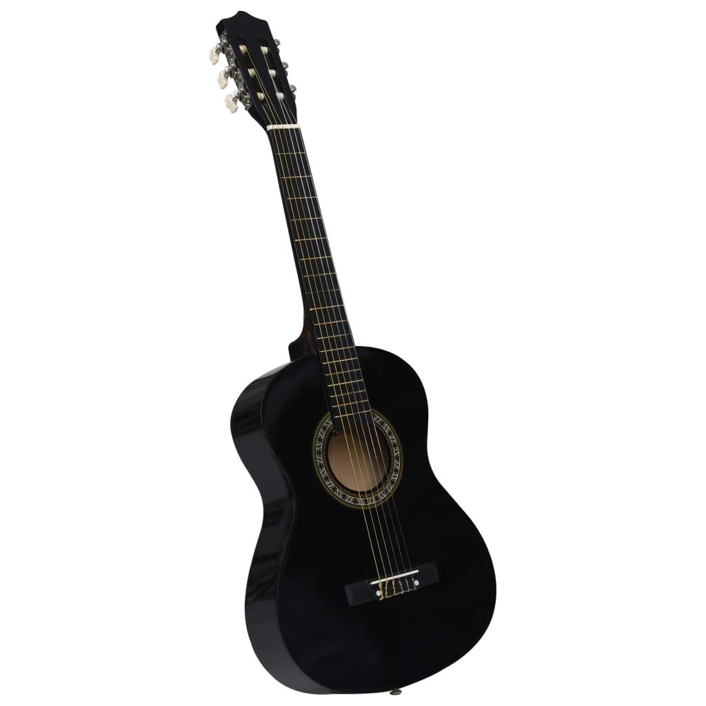 vidaXL Klasická gitara pre začiatočníkov a deti čierna 1/2 34