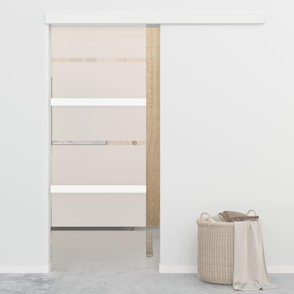 vidaXL Posuvné dvere, jemné zatváranie, ESG sklo a hliník 76x205 cm