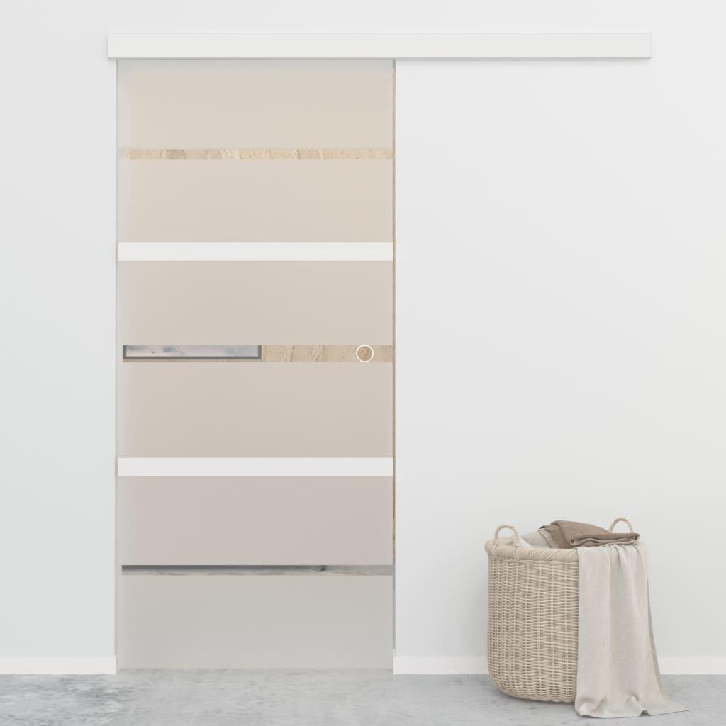 vidaXL Posuvné dvere s jemným zatváraním ESG sklo a hliník 90x205 cm