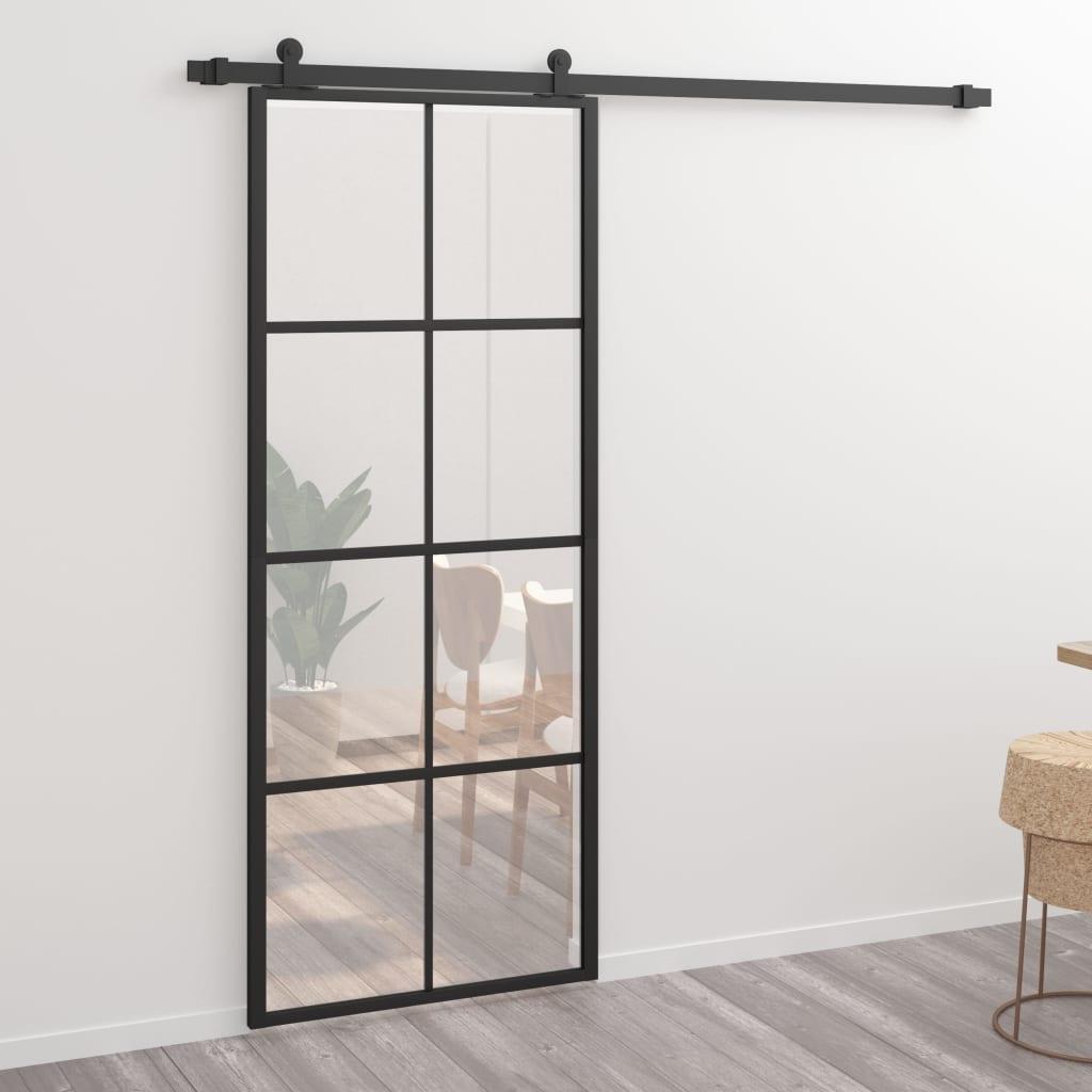 vidaXL Posuvné dvere hliník a sklo ESG 76x205 cm čierne