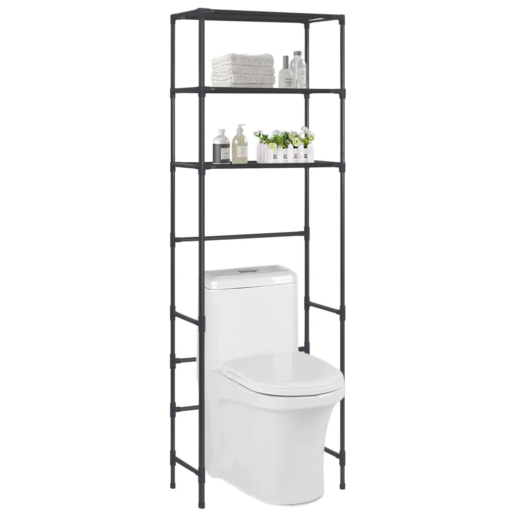 vidaXL Úložný regál nad toaletu s 3 poličkami čierny 53x28x169 cm