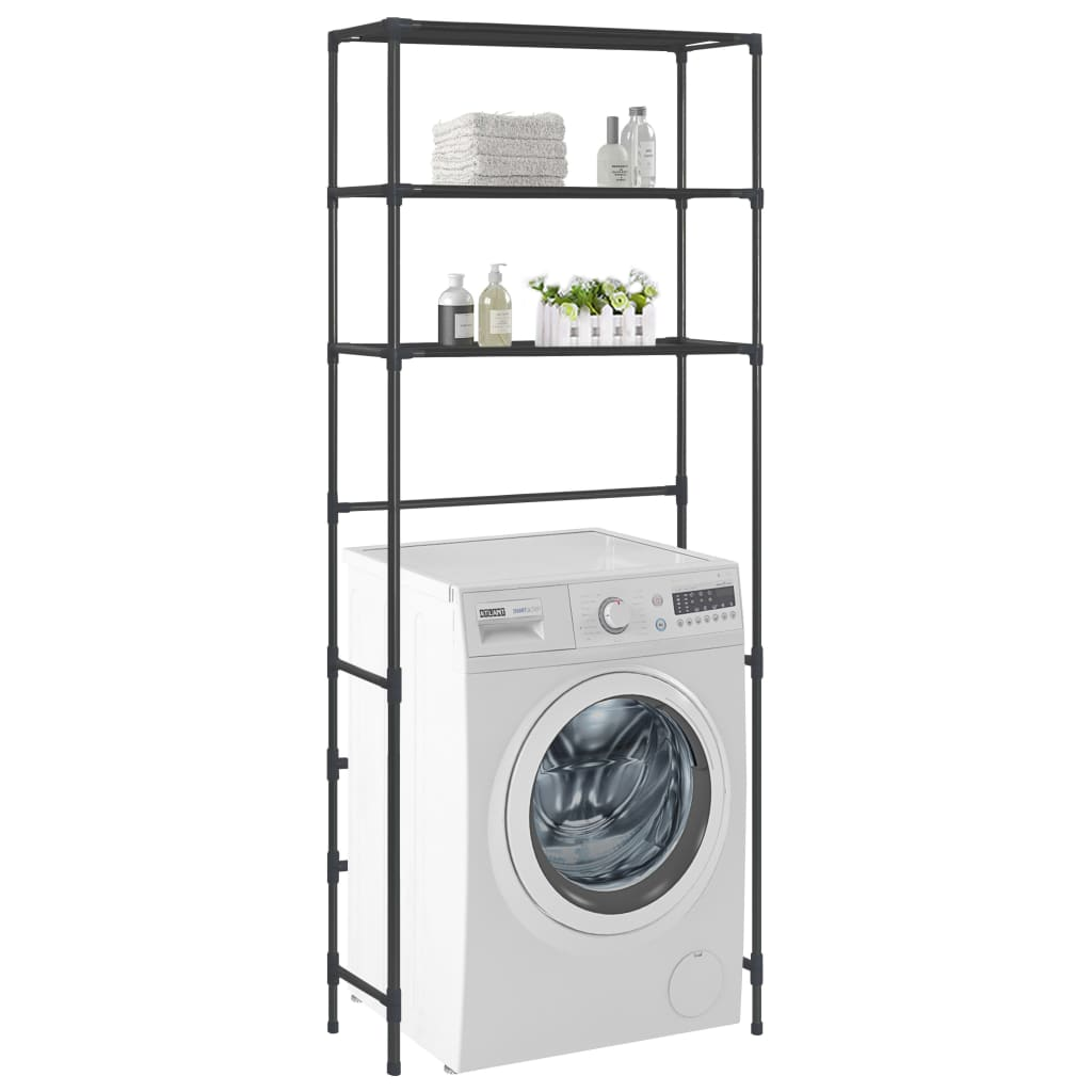 vidaXL 3-policový skladovací regál nad práčku čierny 69x28x169 cm