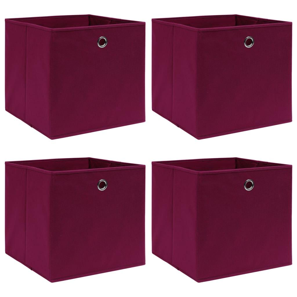 vidaXL Úložné boxy 4 ks tmavočervené 32x32x32 cm látkové