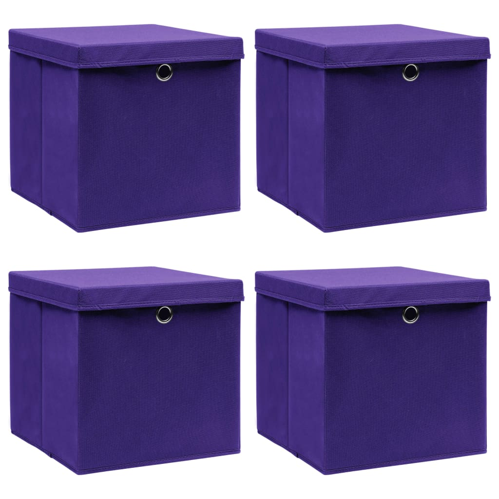 vidaXL Úložné boxy s vrchnákmi 4 ks fialové 32x32x32 cm látkové
