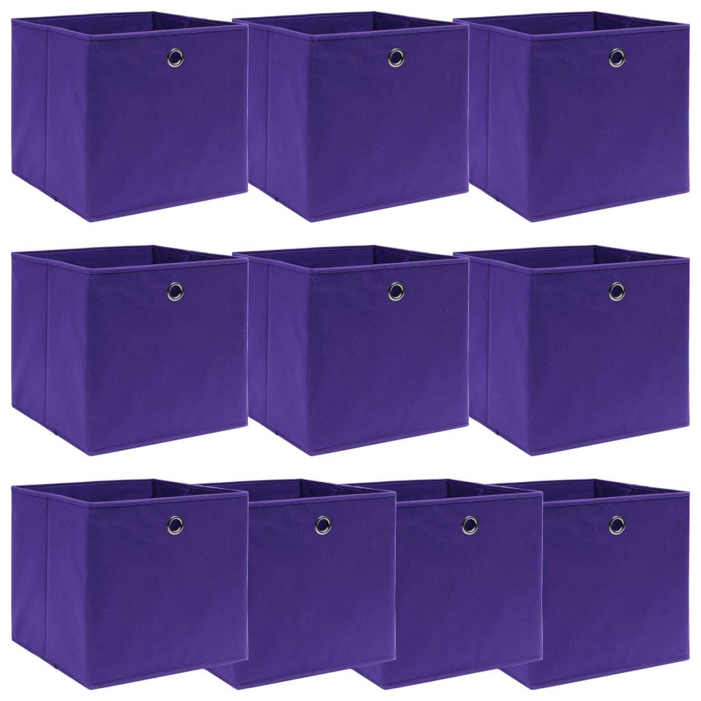 vidaXL Úložné boxy 10 ks fialové 32x32x32 cm látkové