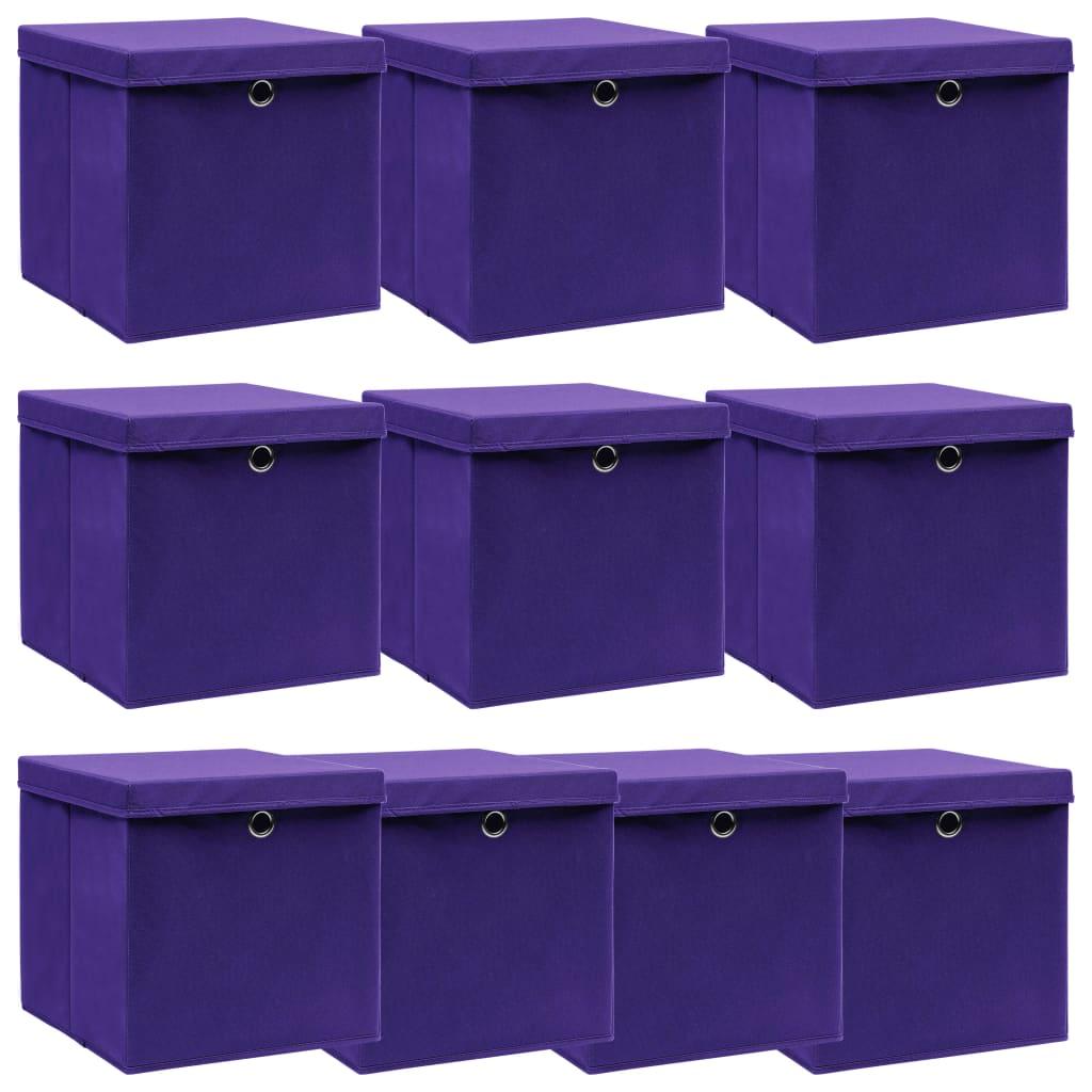 vidaXL Úložné boxy s vrchnákmi 10 ks fialové 32x32x32 cm látkové