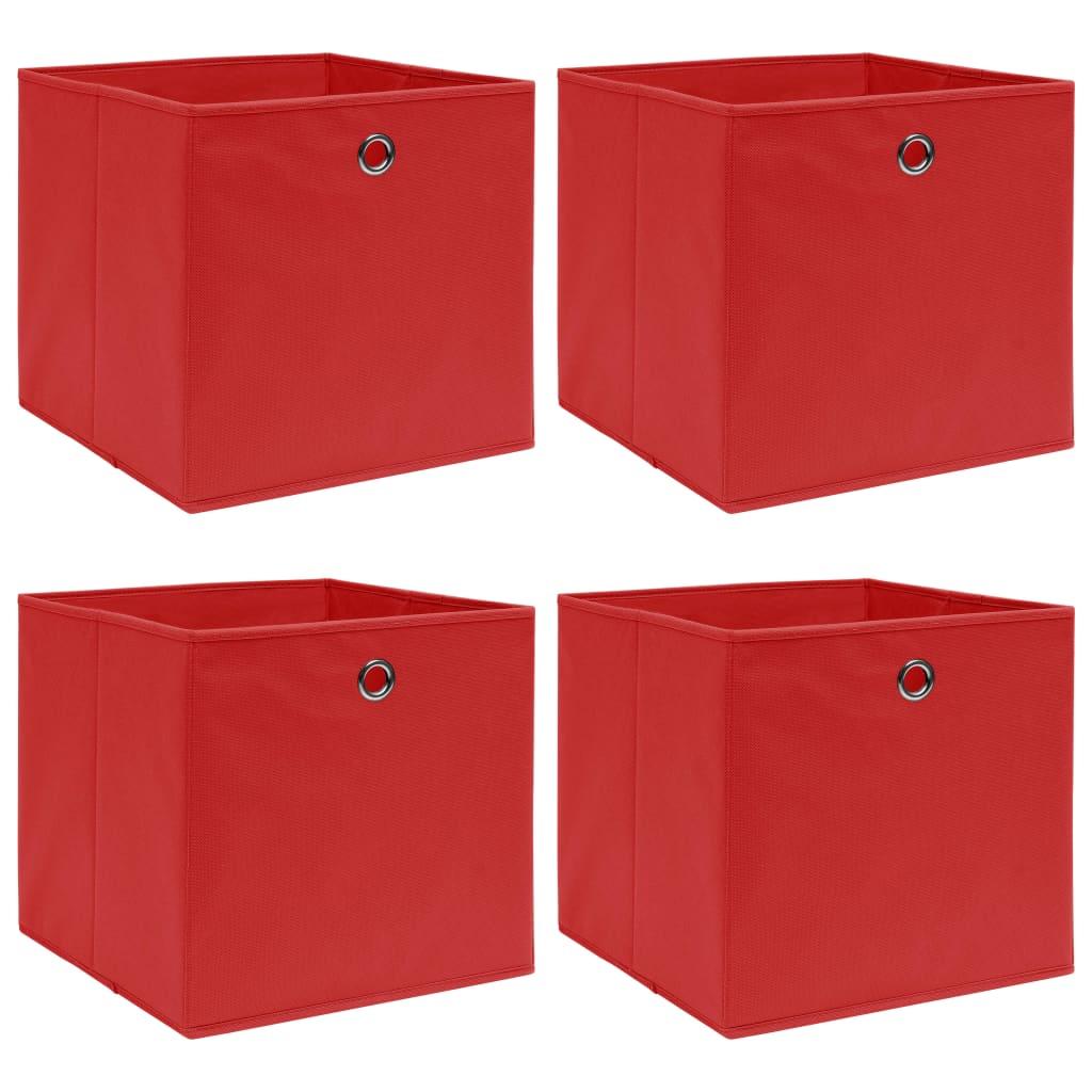 vidaXL Úložné boxy 4 ks červené 32x32x32 cm látkové