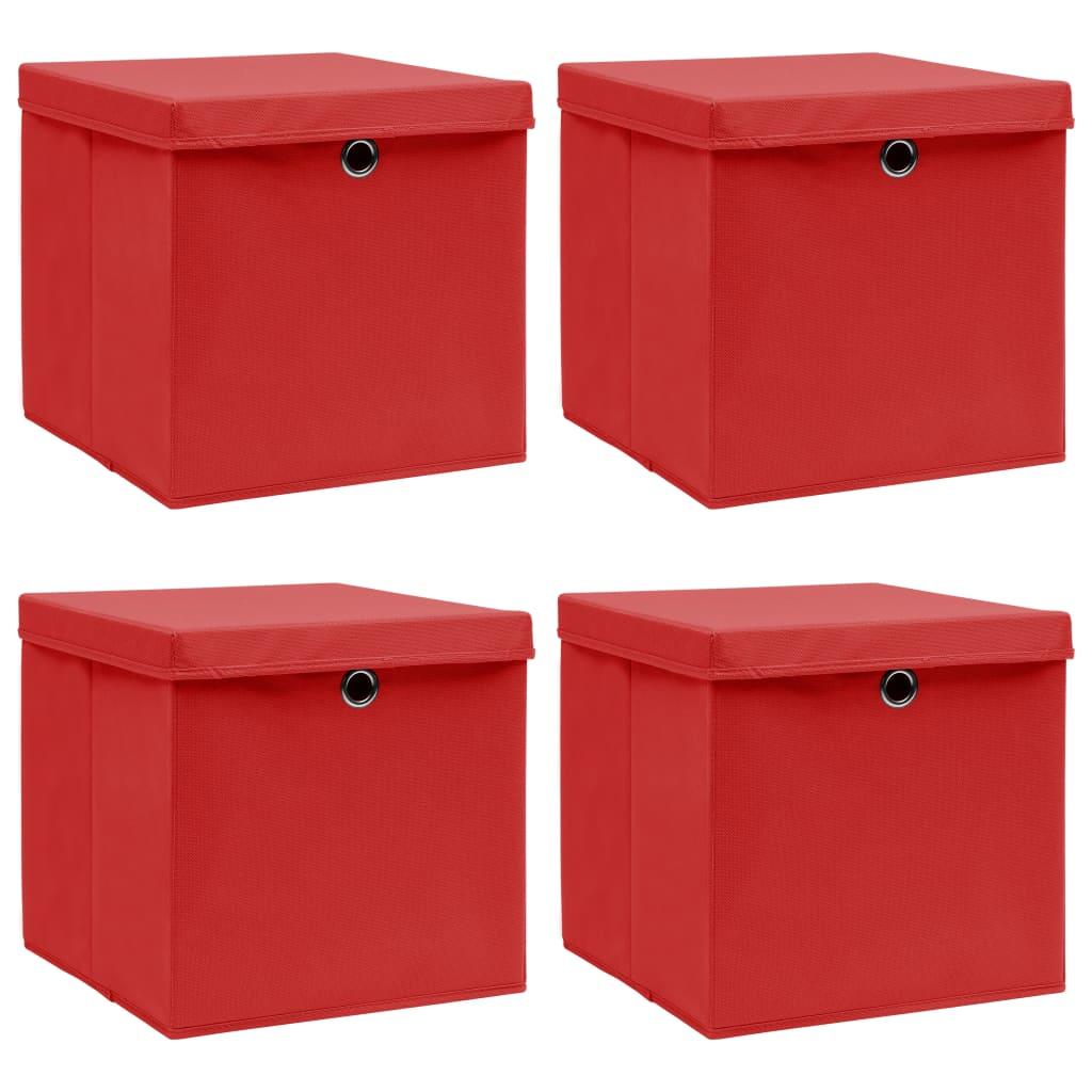 vidaXL Úložné boxy s vrchnákmi 4 ks červené 32x32x32 cm látkové