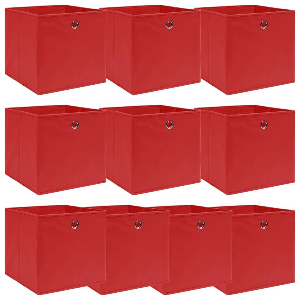 vidaXL Úložné boxy 10 ks červené 32x32x32 cm látkové