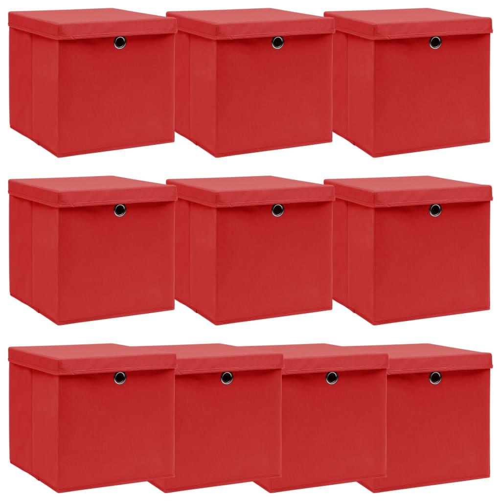 vidaXL Úložné boxy s vrchnákmi 10 ks červené 32x32x32 cm látkové