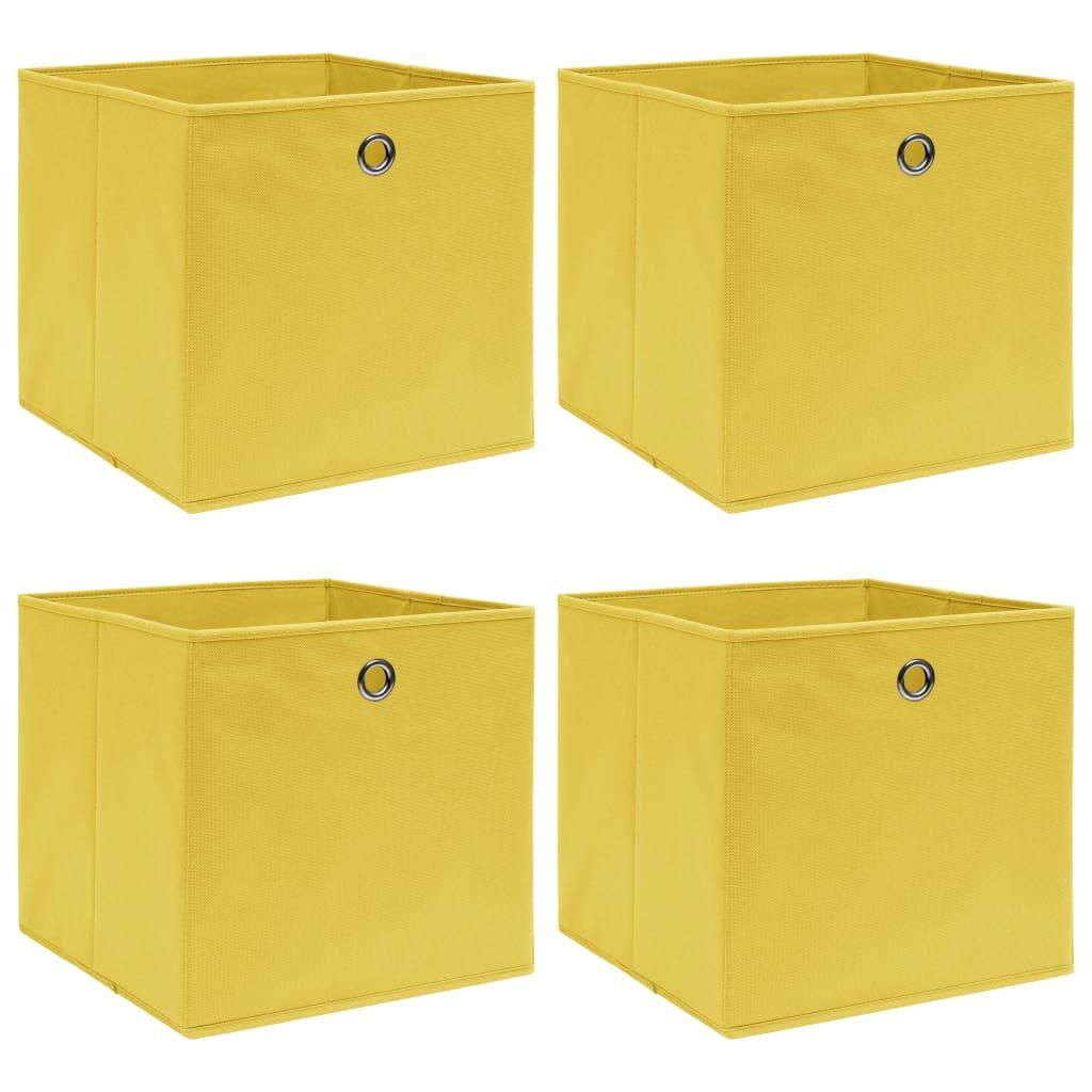 vidaXL Úložné boxy 4 ks žlté 32x32x32 cm látkové