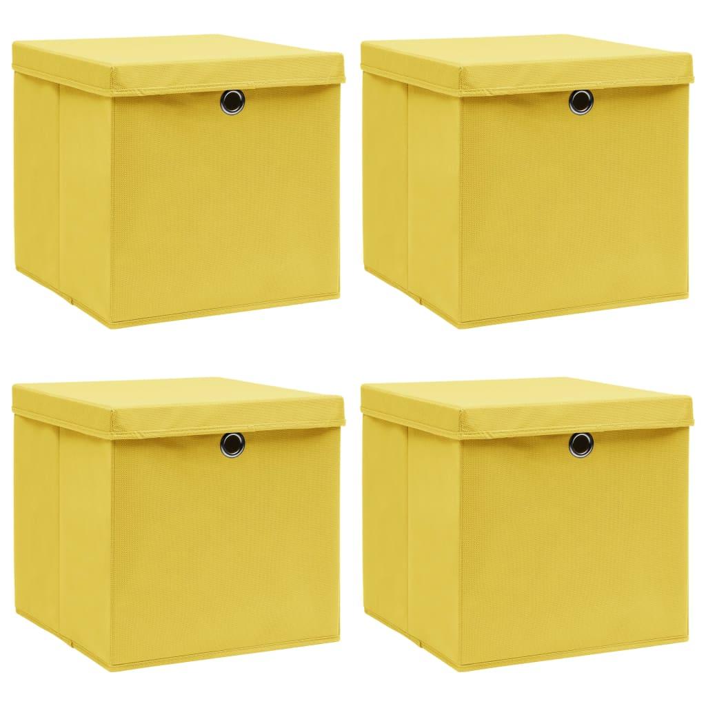 vidaXL Úložné boxy s vrchnákmi 4 ks žlté 32x32x32 cm látkové