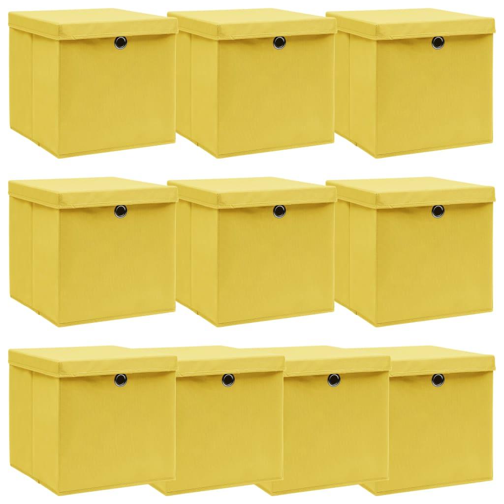 vidaXL Úložné boxy s vrchnákmi 10 ks žlté 32x32x32 cm látkové