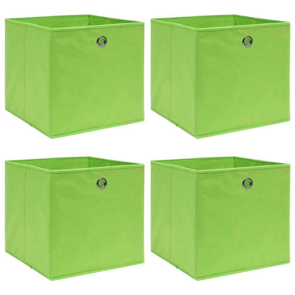 vidaXL Úložné boxy 4 ks zelené 32x32x32 cm látkové