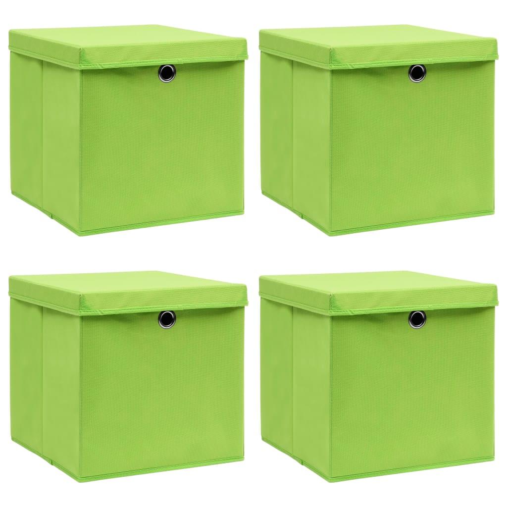 vidaXL Úložné boxy s vrchnákmi 4 ks zelené 32x32x32 cm látkové